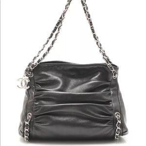Authentic Chanel Chain Black Leather Shoulder Bag